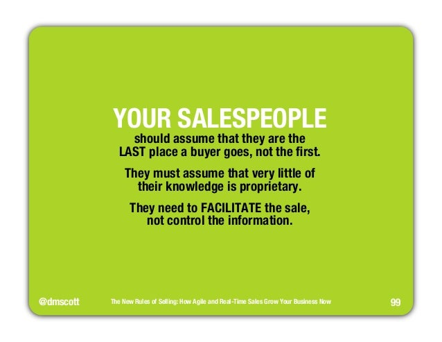 """@dmscott  The New Rules of Selling: How Agile and Real-Time Sales Grow Your Business Now  99  YOUR SALESPEOPLE""""  should as..."""
