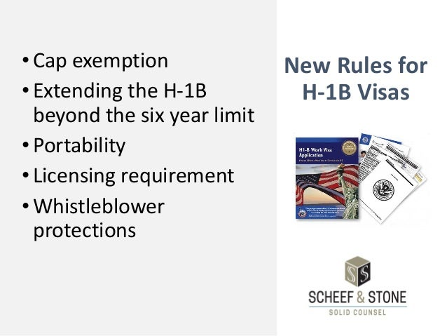 New Rules for H-1B Visas •Cap exemption •Extending the H-1B beyond the six year limit •Portability •Licensing requirement ...