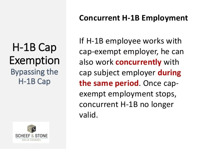 H-1B Cap Exemption Bypassing the H-1B Cap Concurrent H-1B Employment If H-1B employee works with cap-exempt employer, he c...