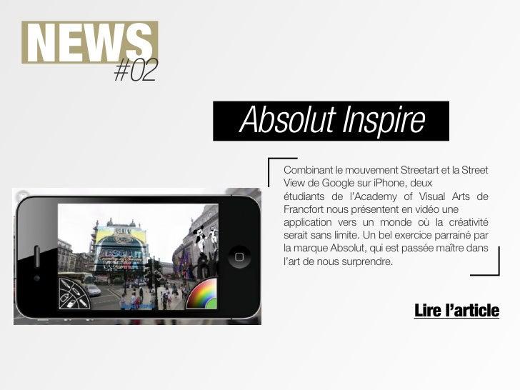 NEWS   #02         Absolut Inspire            Combinant le mouvement Streetart et la Street            View de Google sur ...