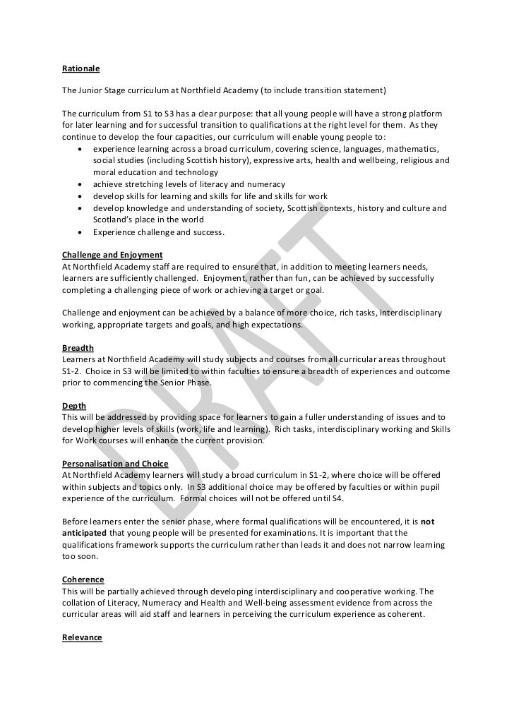 RationaleThe Junior Stage curriculum at Northfield Academy (to include transition statement)The curriculum from S1 to S3 h...