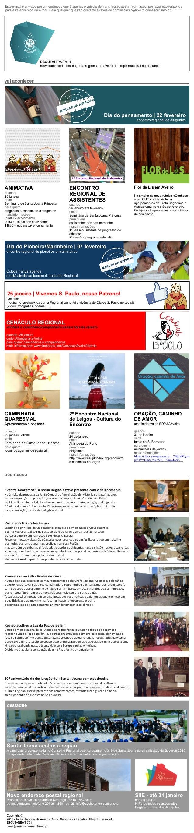 ESCUTANEWS #01 newsletter periódica da junta regional de aveiro do corpo nacional de escutas vai acontecer CENÁCULO REGION...