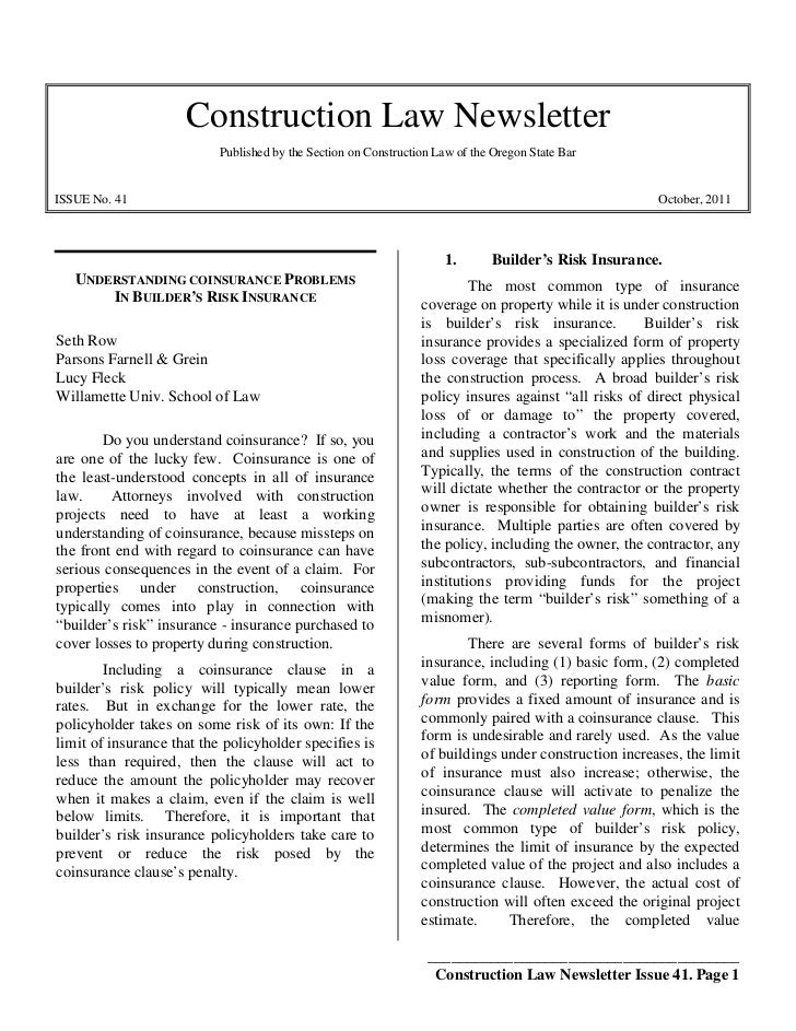 Construction Law Newsletter                           Published by the Section on Construction Law of the Oregon State Bar...