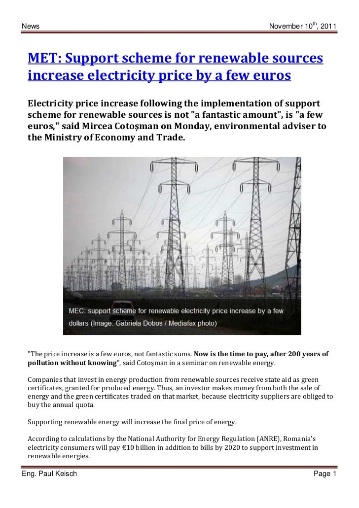 News                                                                            November 10th, 2011 MET: Support scheme fo...