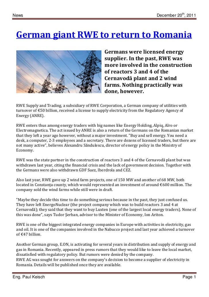 News                                                                            December 20th, 2011 German giant RWE to re...