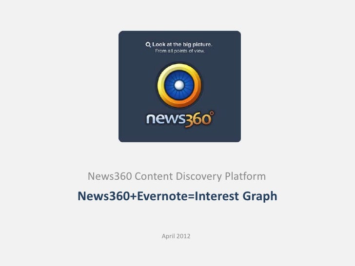 News360 Content Discovery PlatformNews360+Evernote=Interest Graph               April 2012
