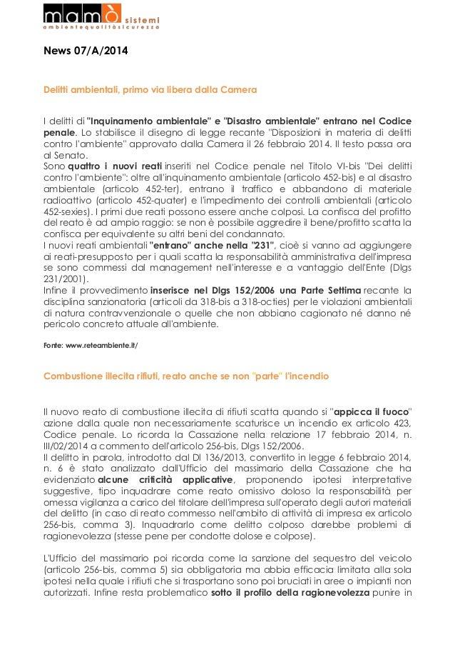 """News 07/A/2014  Delitti ambientali, primo via libera dalla Camera I delitti di """"Inquinamento ambientale"""" e """"Disastro ambie..."""