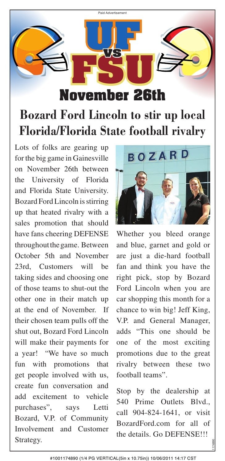 Paid Advertisement                     UF            vs                    FSU         November 26th Bozard Ford Lincoln t...