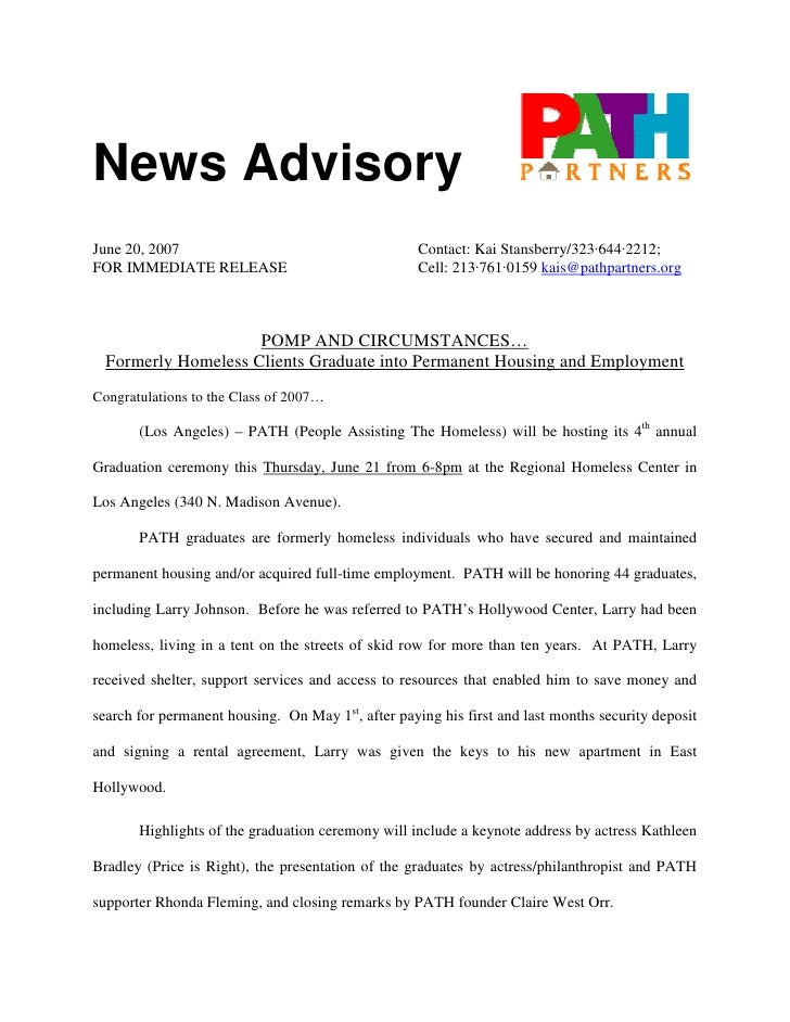 News Advisory June 20, 2007                                       Contact: Kai Stansberry/323·644·2212; FOR IMMEDIATE RELE...