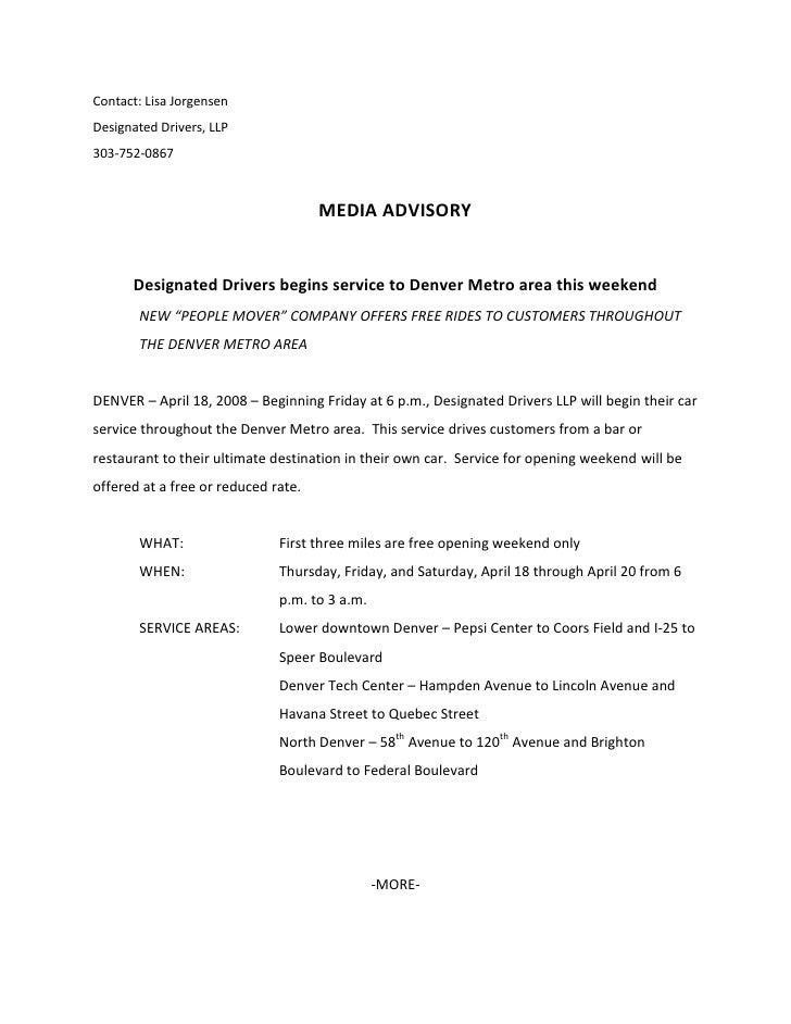 Contact: Lisa Jorgensen<br />Designated Drivers, LLP<br />303-752-0867<br />MEDIA ADVISORY<br />Designated Drivers begins ...