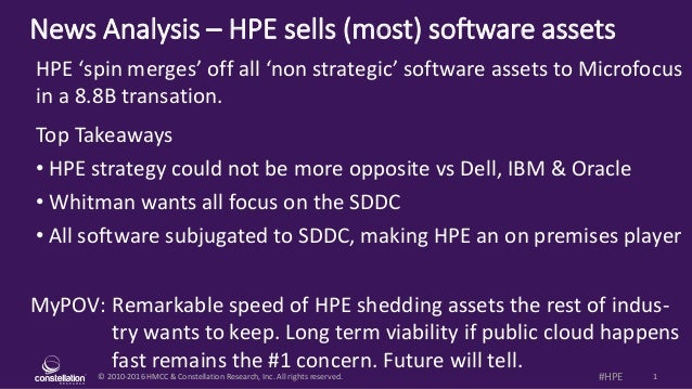 © 2010-2016 HMCC & Constellation Research, Inc. All rights reserved. 1#HPE News Analysis – HPE sells (most) software asset...