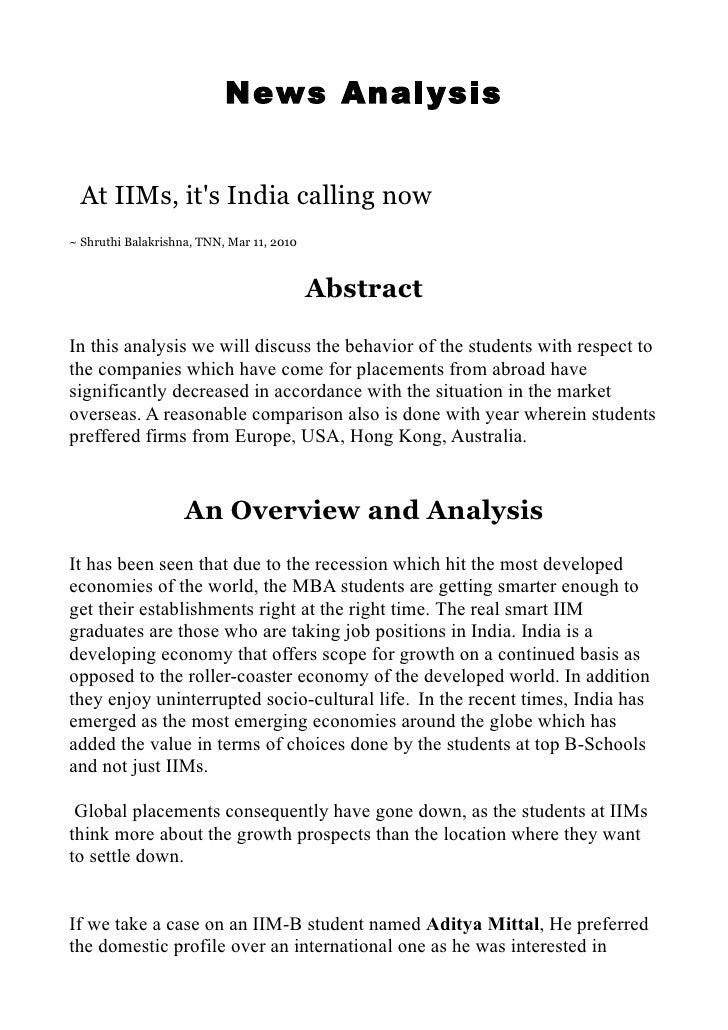News Analysis    At IIMs, it's India calling now ~ Shruthi Balakrishna, TNN, Mar 11, 2010                                 ...
