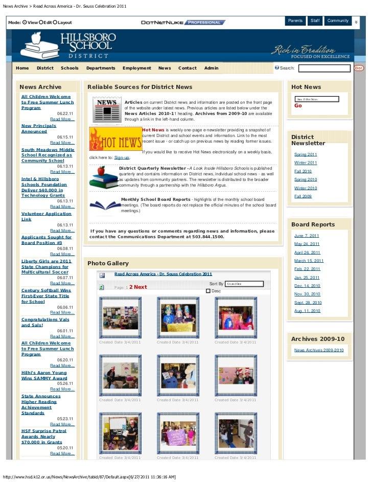 News Archive > Read Across America - Dr. Seuss Celebration 2011  Mode:      View   Edit    Layout                         ...