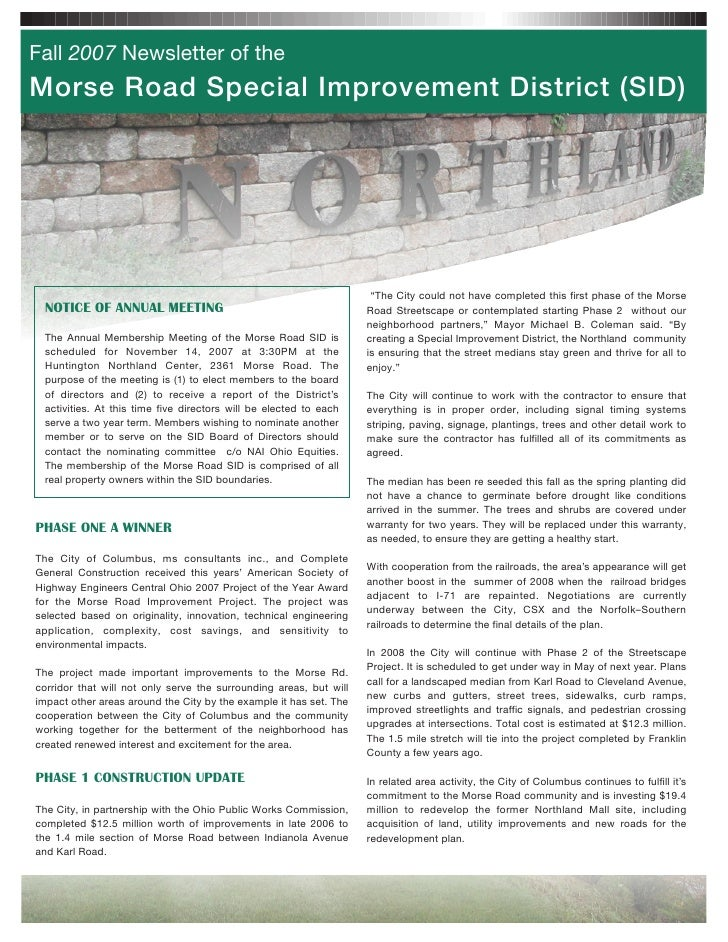 Fall 2007 Newsletter of the Morse Road Special Improvement District (SID)                                                 ...