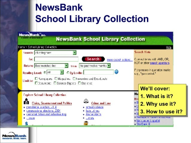 NewsBank School Library Collection  K)a'IIWuuc.  ewsaan cho'o1 ibra o1Iecti  >n: m'+ ' '—. ;' an-: « -Ib ax '. I1I| -L-IZI...
