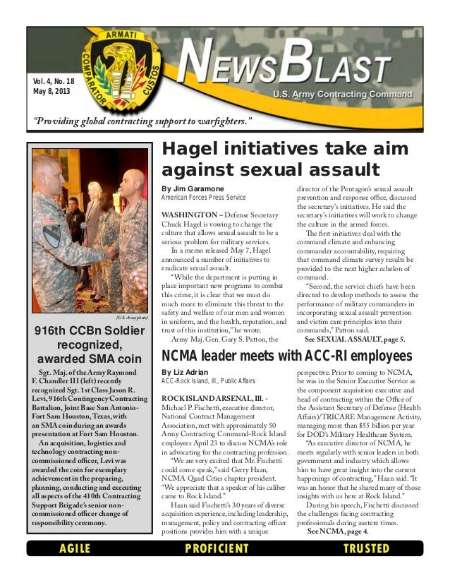 """Vol. 4, No. 18 May 8, 2013 """"Providing global contracting support to warfighters."""" AGILE PROFICIENT TRUSTED By Liz Adrian A..."""