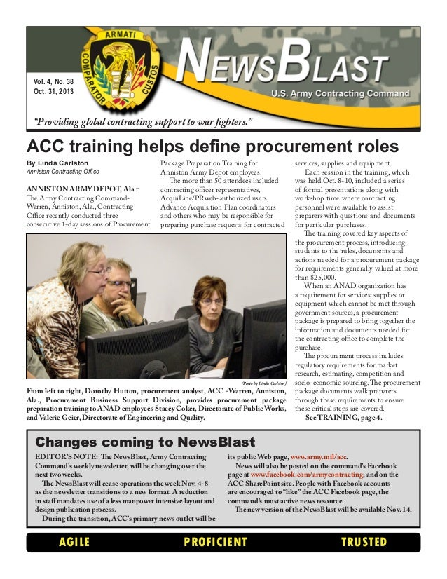 """Vol. 4, No. 38 Oct. 31, 2013  """"Providing global contracting support to war fighters.""""  ACC training helps define procureme..."""