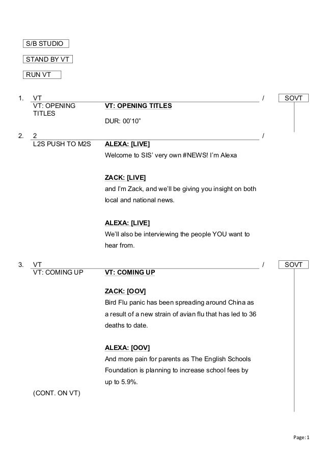 news report script A lesson plan about compiling news for teachers and students taking part in the bbc's newsmaking projects for 11 to 16-year-olds, school report.