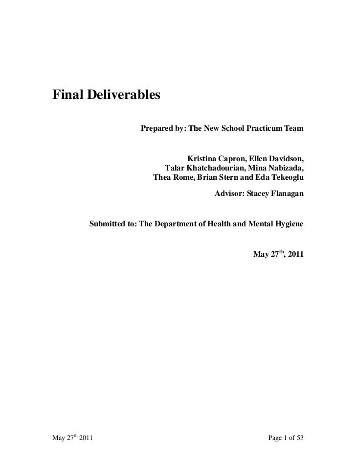 Final Deliverables                        Prepared by: The New School Practicum Team                                   Kri...