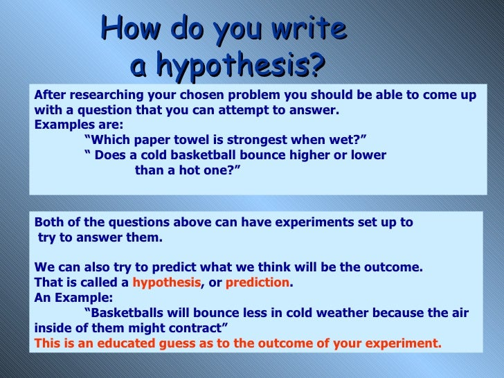 How to write a hypothesis statement science