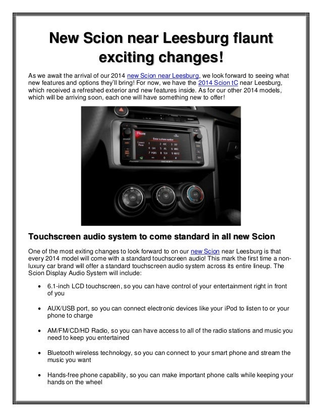 New Scion near Leesburg flaunt exciting changes! As we await the arrival of our 2014 new Scion near Leesburg, we look forw...