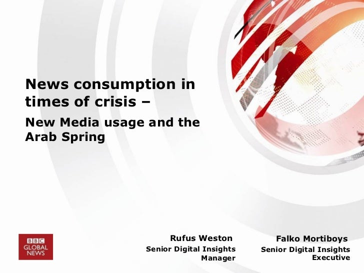 News consumption in times of crisis –   New Media usage and the Arab Spring Rufus Weston  Senior Digital Insights Manager ...