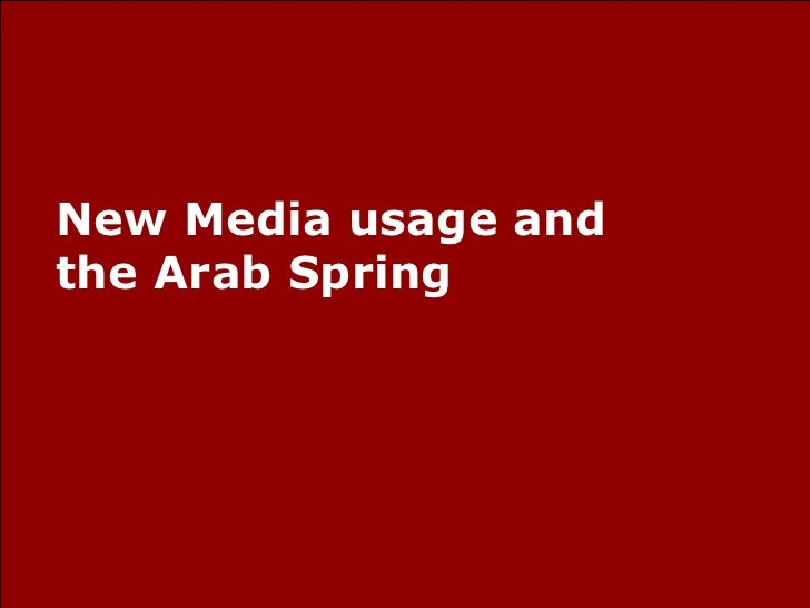 New Media usage and the Arab Spring