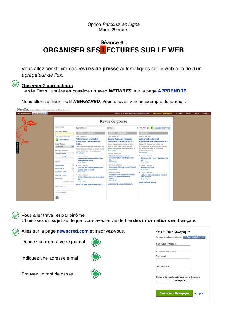 Option Parcours en Ligne                                      Mardi 29 mars                                      Séance 6 ...