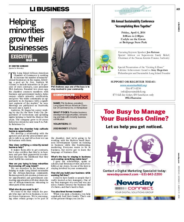 BY CHRISTINE GIORDANO Special to Newsday T he Long Island African American Chamber of Commerce is working to increase the ...
