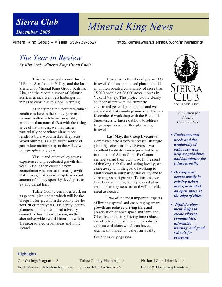 Sierra Club December, 2005                                                 Mineral King NewsMineral King Group – Visalia 5...