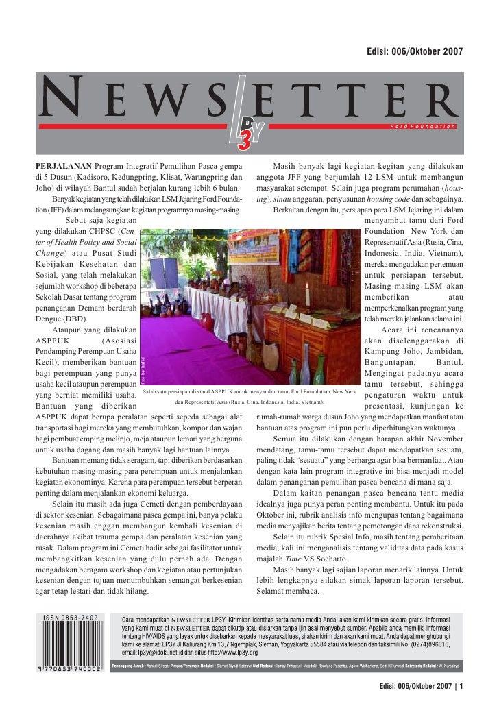 Edisi: 006/Oktober 2007     PERJALANAN Program Integratif Pemulihan Pasca gempa                                      Masih...
