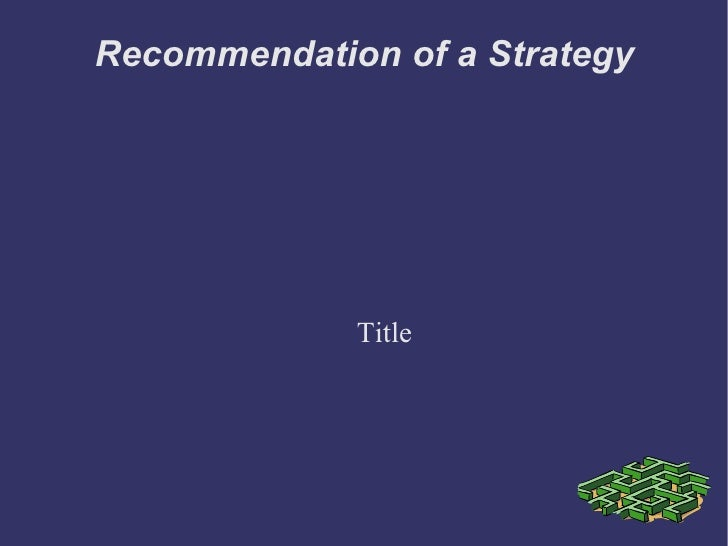 Recommendation of a Strategy Title