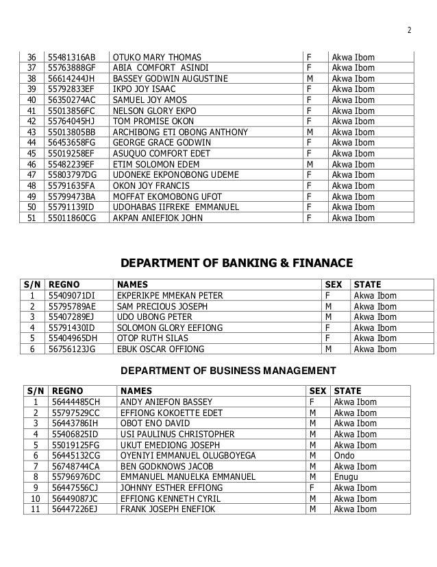 Uniuyo sce admission list 2015 www.alluniversitynews.com