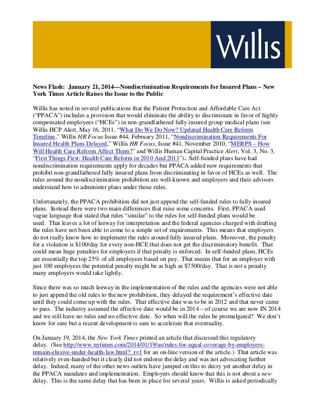 News Flash: January 21, 2014—Nondiscrimination Requirements for Insured Plans – New York Times Article Raises the Issue to...