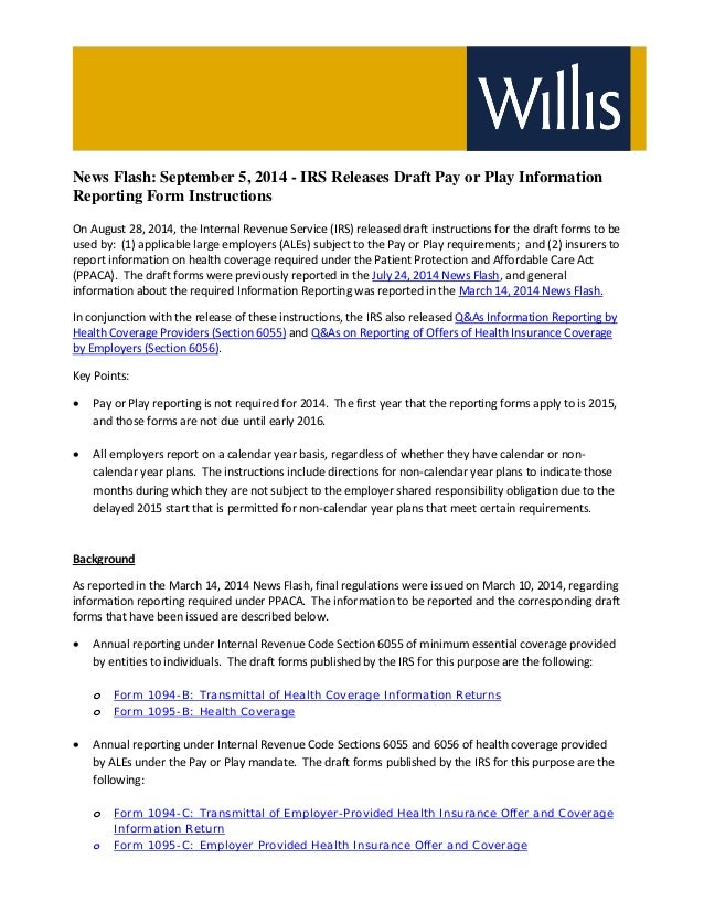 News Flash September 5 2014 Irs Releases Draft Pay Or Play Informat