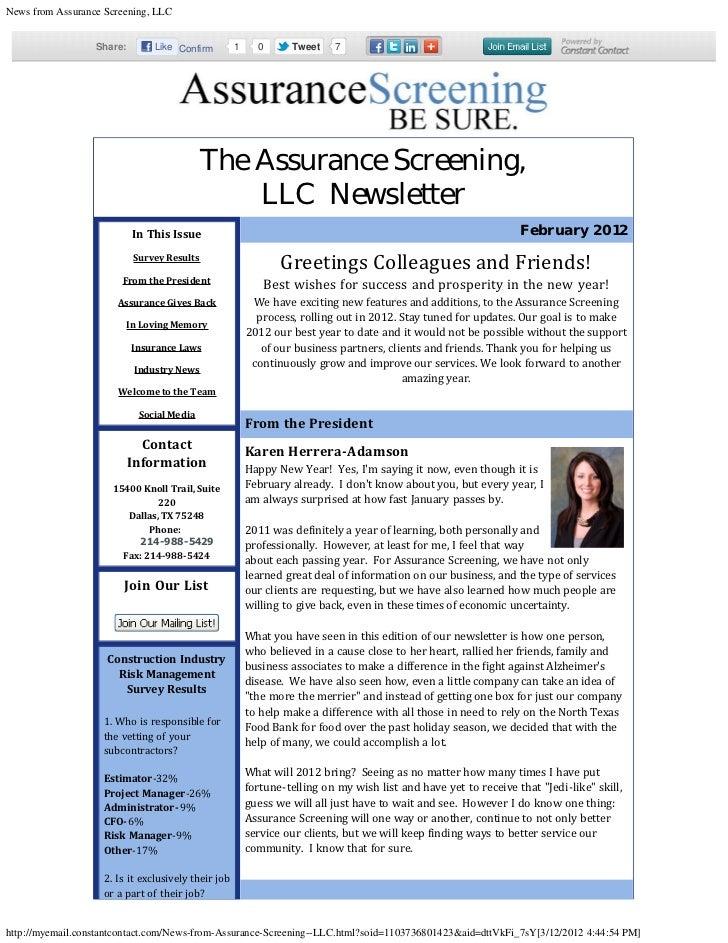 News from Assurance Screening, LLC                  Share:        Like Confirm          1       0    Tweet    7           ...