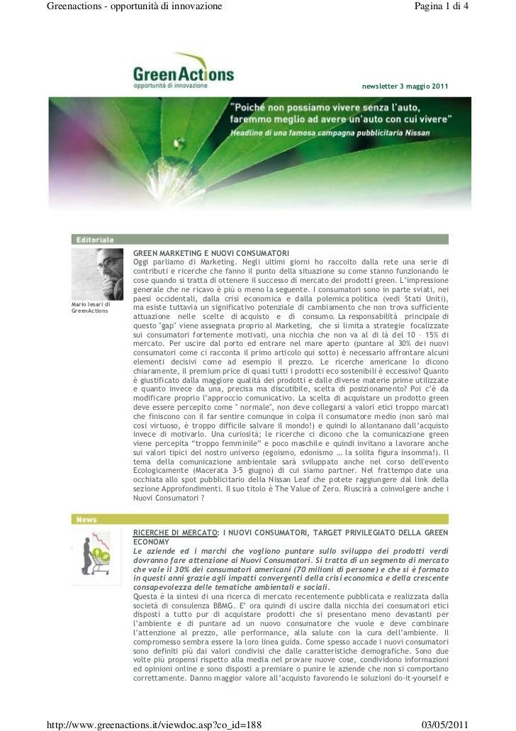 Greenactions - opportunità di innovazione                                                               Pagina 1 di 4     ...