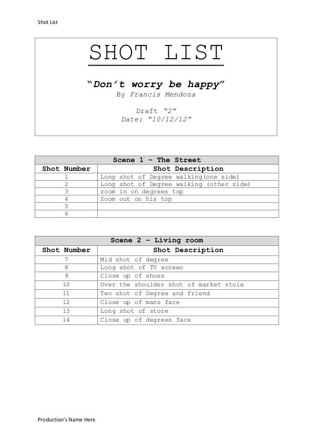 """Shot List                   SHOT LIST                  """"Don't worry be happy""""                                By Francis Me..."""