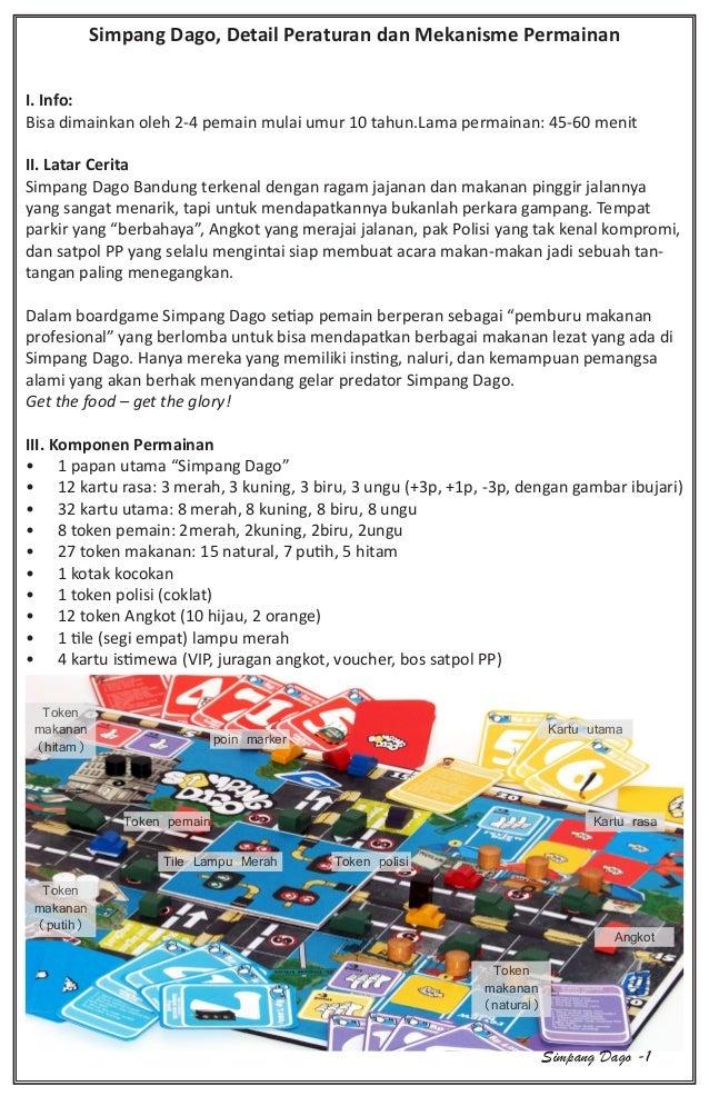 Simpang Dago, Detail Peraturan dan Mekanisme Permainan I. Info: Bisa dimainkan oleh 2-4 pemain mulai umur 10 tahun.Lama pe...