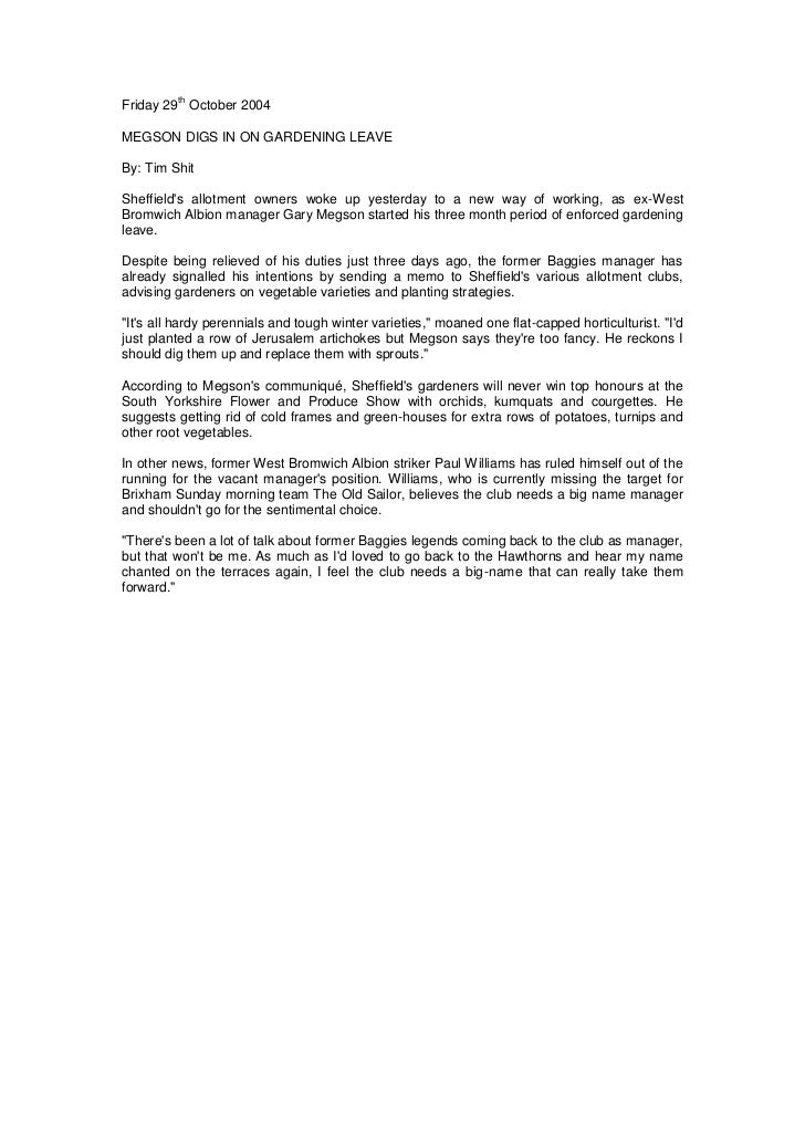 Friday 29th October 2004<br />Megson Digs In On Gardening Leave<br />By: Tim Shit<br />Sheffield's allotment owners woke u...