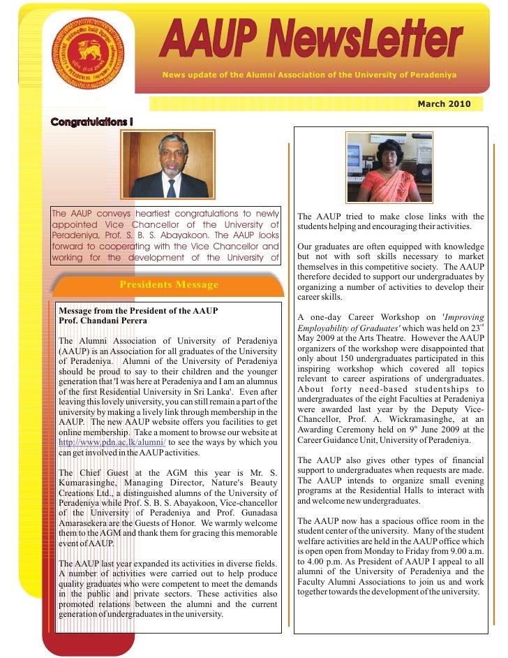 AAUP NewsLetter                                 News update of the Alumni Association of the University of Peradeniya     ...
