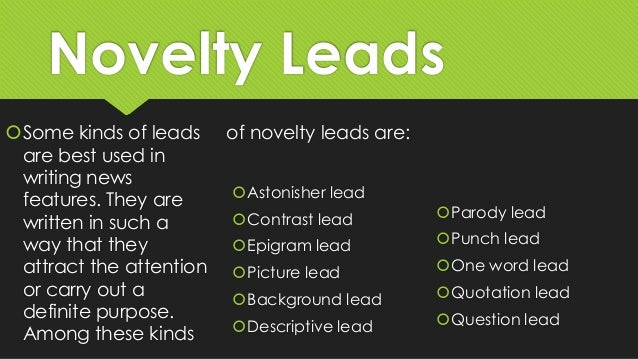 Types of news lead.