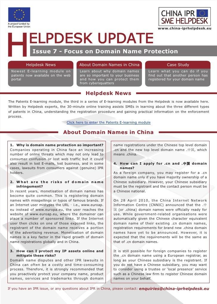 www.china-iprhelpdesk.eu                   Issue 7 - Focus on Domain Name Protection            Helpdesk News             ...