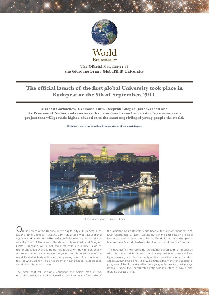 The Official Newsletter of                                         the Giordano Bruno GlobalShift University        The of...