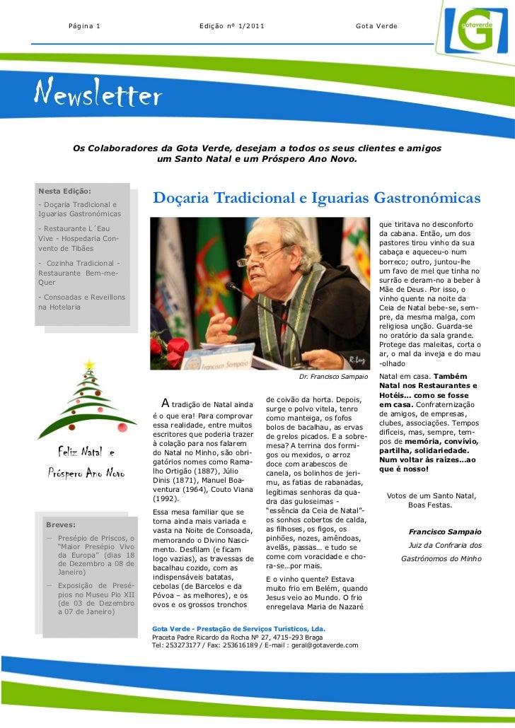 Página 1                           Edição nº 1/2011                               Gota VerdeNewsletter         Os Colabora...