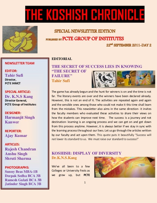 THE KOSHISH CHRONICLE                                 SPECIAL NEWSLETTER EDITION                           PUBLISHED BY   ...