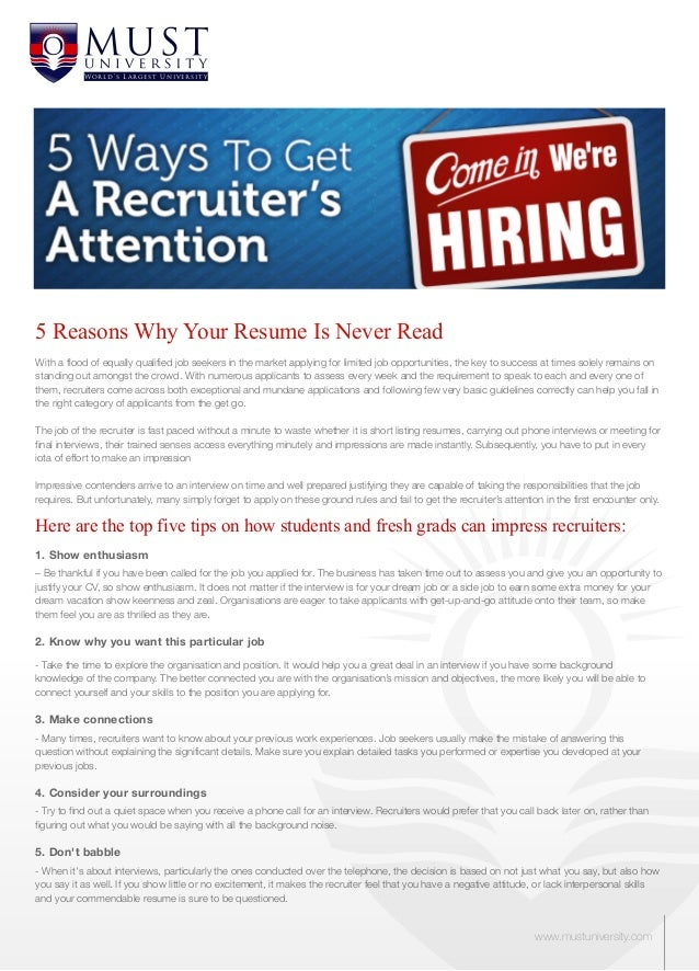 W or l d 's L a r g e s t Uni v e rsi t y5 Reasons Why Your Resume Is Never ReadWith a flood of equally qualified job seek...