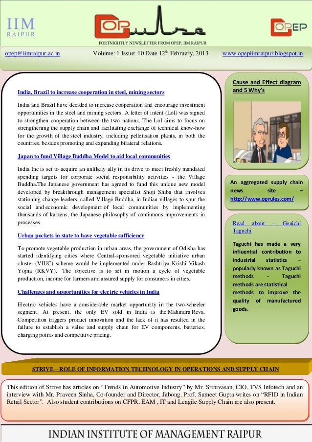 opep@iimraipur.ac.in                Volume: 1 Issue: 10 Date 12th February, 2013         www.opepiimraipur.blogspot.in    ...