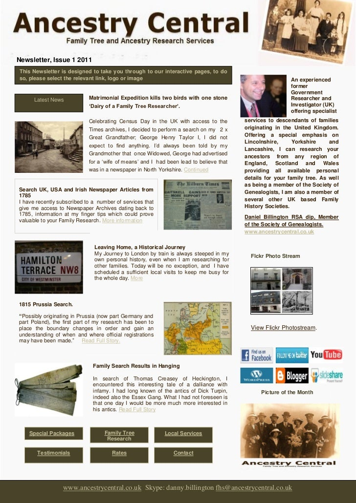 Newsletter, Issue 1 2011This Newsletter is designed to take you through to our interactive pages, to doso, please select t...