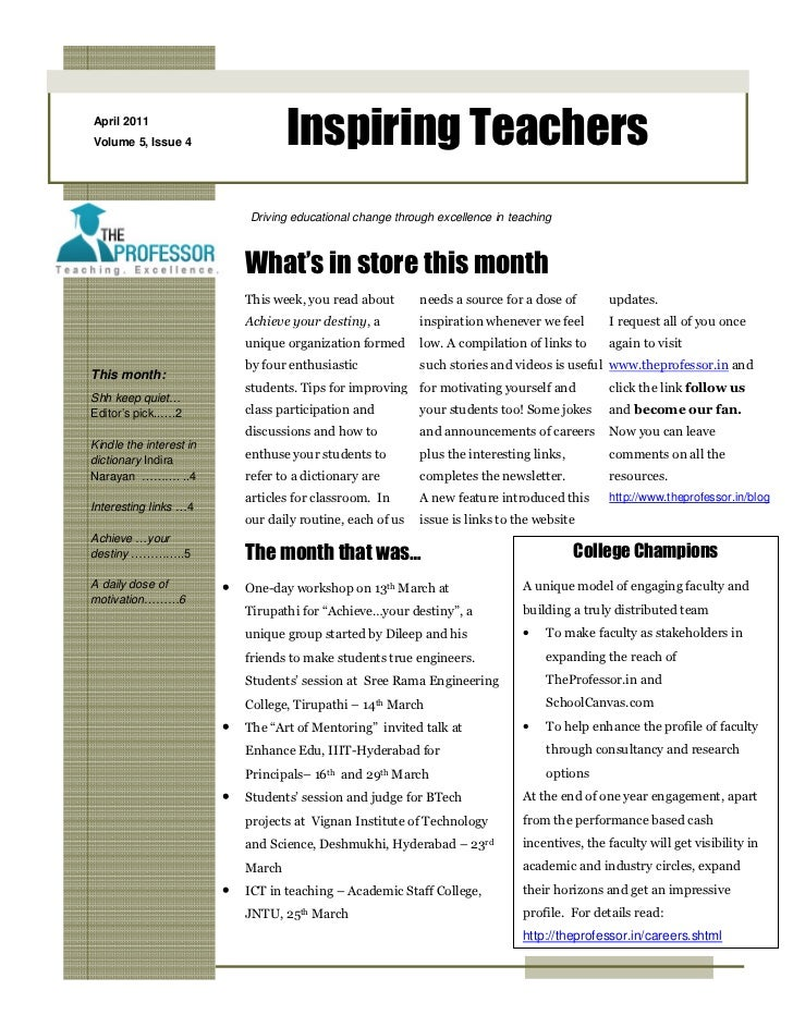 April 2011Volume 5, Issue 4                    Inspiring Teachers                             Driving educational change t...